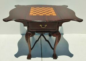 Vintage Solid Mahogany Carved Inlaid Wood Drop Leaf Chess Game Table 2 Drawers