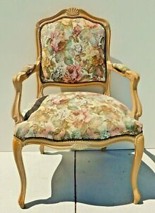 Vintage Italy Chateau D Ax Louis Xv Bergere Flower Tapestry Accent Arm Chair