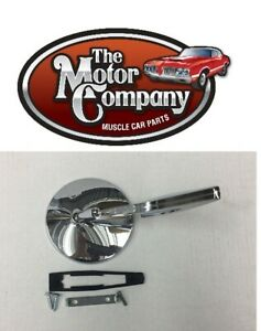 1968 Impala Chrome Round Side Mirror Ribbed Base W Hdw In Stock