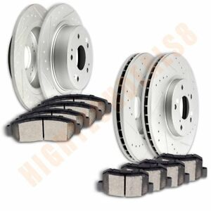 Brake Discs Rotors With Ceramic Pads For 2008 2009 2010 Honda Accord Front Rear