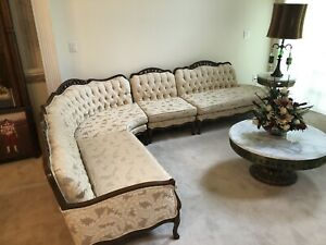 Button Tufted 4 Piece Sofa French Provincial Style