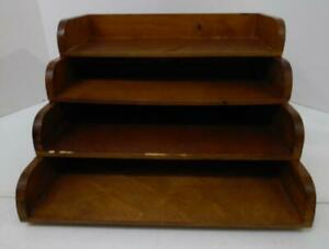 Vtg Set Of 4 Wood Stacking File Trays Desk Top In And Out Boxes Organizers