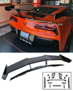 Zr1 Style For 14 19 Corvette C7 Z06 Carbon Flash Rear Wing Spoiler With Bracket