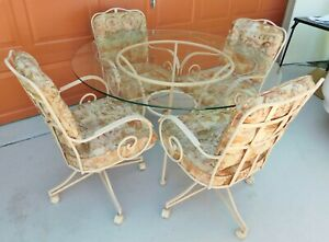 Antique Vtg Chromcraft 48 Etched Glass Table 4 Swivel Arm Chairs Dining Set