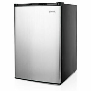 3 Cu ft Compact Upright Freezer W single Stainless Steel Door Removable Shelves