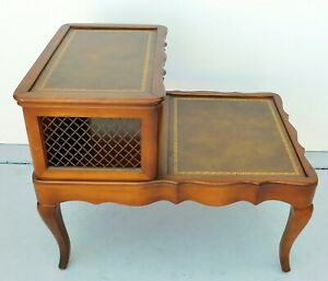Antique Vtg Solid Mahogany Wood Leather Top 2 Tier Step Side End Accent Table