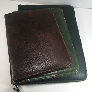 Lot Of 3 Vintage Leather Writing Case Portfolio Stationary Letter Paper Folder