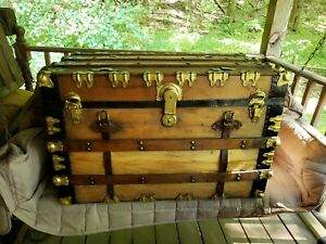 1800 S Antique Victorian Steamer Trunk Chest Refurbished