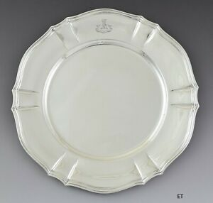 Antique Tiffany Co Sterling Silver Plate Charger Maclean Motto Crest 10