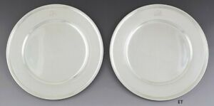 1907 1947 Great Pair Tiffany Co Sterling Silver 11 Dinner Chargers Plates