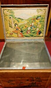 Vintage Tea Caddy Japan Wooden Tin Lined Chest Shipping Box Bonsai