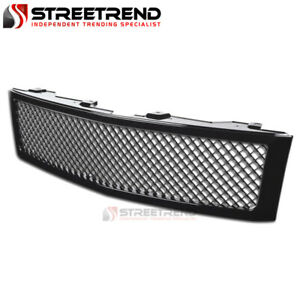 For 2007 2013 Chevy Silverado 1500 Mesh Front Hood Bumper Grille Glossy Black