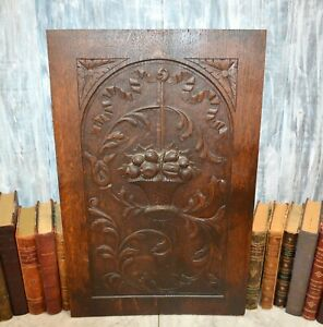 Antique French Carved Wood Cabinet Panel Fruit Basket Architectural Salvage