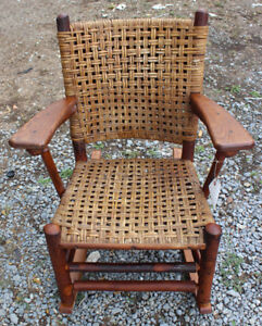 Superb Antique Old Hickory Arm Rocking Chair Inv373 Stickley Era