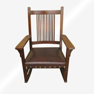 Antique L Jg Stickley Spindled Rocking Chair Inv6420