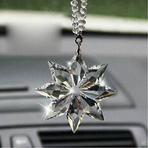 Car Rear View Mirror Ornament Pendant Crystal Snowflake Auto Hanging Gift
