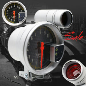 Universal 5 Carbon Style Face Tachometer Tach Gauge With Shift Light 11k Rpm Us
