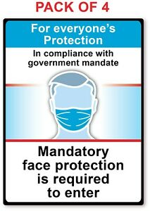 4 Mandatory Face Mask Required To Enter Sticker Store Business Decal Sign
