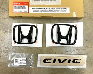 Genuine Oem Honda 16 20 Civic 4dr Sedan Gloss Black Logo Emblem Set 08f20tba100