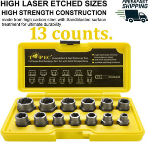 Topec Impact Bolt Nut Remover Set 13 1 Pieces Nut Extractor Socket Bolt Remo
