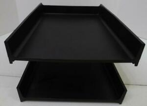 Vtg Eldon 2 Tier Black Plastic File Trays Desk Top In And Out Boxes Organizers