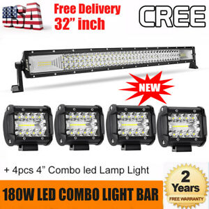 32 Inch 180w Cree Led Light Bar 4x 4 Combo Lamp For Jeep Utv Suv Atv Buggy