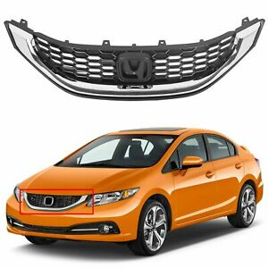 Grille Black W Molding Fit 2013 2014 2015 Honda Civic Sedan Replace Ho1200216