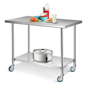 30 X 48 Stainless Steel Commercial Kitchen Tool Prep Work Table W 4 Wheels
