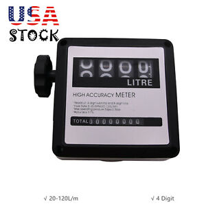 4 Digital Gasoline Fuel Petrol Oil Flow Meter 20 120l m F Diesel Counter Usa