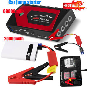 69800 2000mah 12v Car Jump Starter Portable Usb Power Bank Battery Booster Clamp