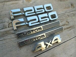 F 250 Custom Emblem Set 1987 1991 Ford F 250 Custom Truck Oem Plastic Emblems