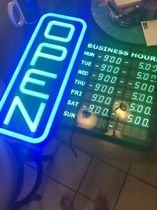 Led Open Sign With Business Hours Stand Out With Color Combos To Match