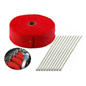 2 50ft Exhaust Header Pipe Heat Wrap Trap Motorcycle Fiberglass 10 Ties Red