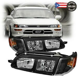 Fits 1993 1997 For Toyota Corolla Dx Black Headlights Clear Lens Headlamps Set
