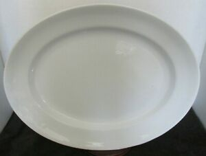 Antique White Ironstone Deep Large Platter 16 X 13 X 2 H Gorgeous Unmarked