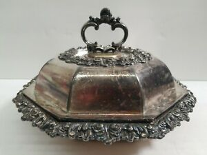 Vintage Octagon Silver Plated Food Serving Tray W Cover Entree Dish