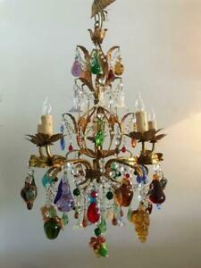 Vtg Italian Murano Glass Fruits Flowers Gold Gilt Tole W Crystals Chandelier
