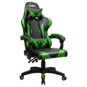 Gaming Chair Reclining Swivel Racing Office Chair W massage Lumbar Support Green