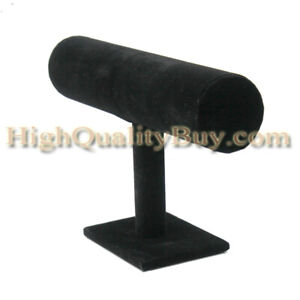 Black Velvet T Bar Bracelet Watches Jewelry Display Stands