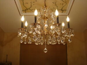 Spectacular Old Brass Bronze Crystal Double Pineapple Chandelier