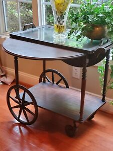 Vintage Teacart Wood Drop Leaf Top With Serving Tray Draw And Rubber Wheels