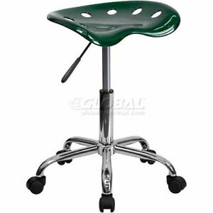 Tractor Seat Chrome Stool Vibrant Green