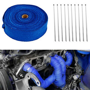 2 X 50ft Roll Blue Fiberglass Exhaust Header Pipe Heat Wrap Tape W 10pcs Ties