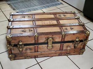 1800 S Antique Victorian Flat Top Steamer Trunk Chest Refurbished