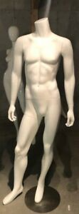 Free Shipping Used Gloss White Headless Male Mannequin