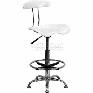 Drafting Stool W tractor Seat Vibrant White Chrome