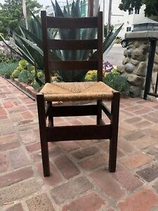 Gustav Stickley Ladder Back Chairs Original Finish Large Decal Circa 1902 04