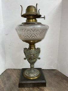 Figural Antique Oil Kerosene Lamp Semi Frosted Glass Iron Base Pat 1872 1863
