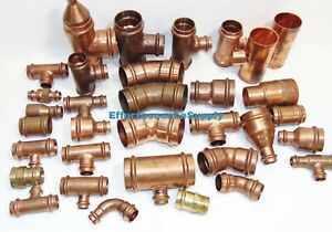 lot Of 33 1 2 To 2 Propress Copper Fittings tees Elbows Coupling