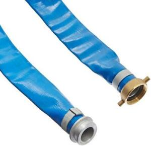 Apache 98138015 1 1 2 X 50 Blue Pvc Lay flat Discharge Hose With Aluminum Pin